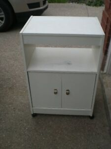 WHITE CABINET ON 4 WHEELS