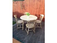 Hand painted shabby chic farmhouse pine dining table & 4chairs, can deliver, bargain