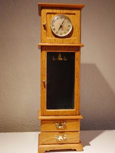 Mini grandfather clock jewelry case