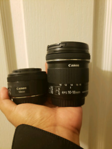 Canon 50mm f1.8 and 10-18mm lens combo