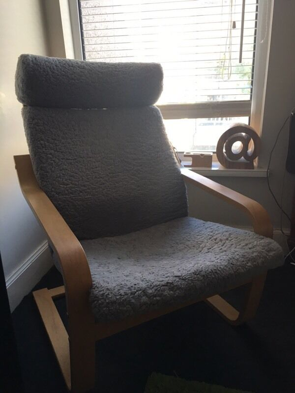 Ikea Poang Chair With Grey Sheepskin Cover In Grangetown