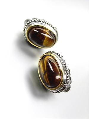 GORGEOUS Designer BALINESE Silver Cable Oval Tigers Eye Stone CLIP Earrings Clip Tigers Eye Earrings