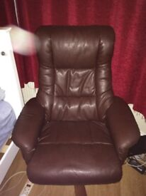 Brown leather look recliner