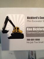 Mini excavator available for hire