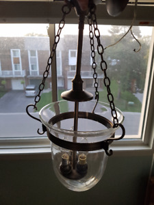 Modern Ceiling E14 Candle Light Fixture w/ Clear Glass Shade