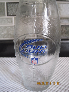 YOUR OWN BUD LIGHT OFFICIAL N.F.L FOOTBALL SHAPED BEER GLASS