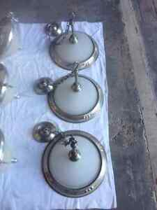 brushed pewter / brushed nickel light fixtures and chandeliers Kitchener / Waterloo Kitchener Area image 1