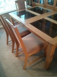 Solid Oak Table, Leaf and 6 Beige High Back Upholstered Chairs