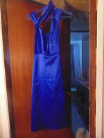 After Six Blue Satin Bridesmaid Dress