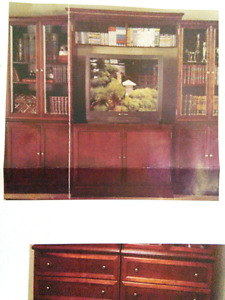 Like new, solid cherry wood entertainment center, china cabinet