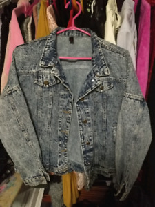 Large distressed jean jacket bomber style