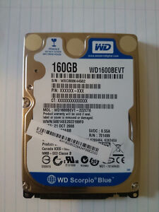 160GB Western Digital WD Scorpio Blue  2.5  Laptop Hard Drive
