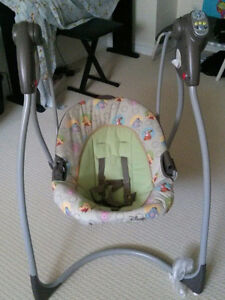 Toddler bed, swing and toys