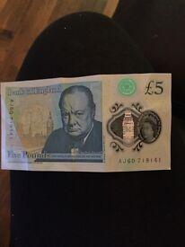 £5 note AJ60. 719141
