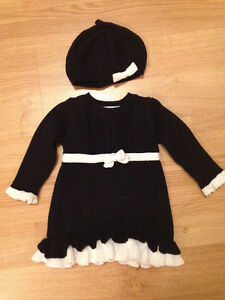 Black and white knit dress and hat