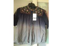 Zara Embroidered shirt brand new