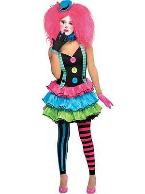 Girls Teen Kool Klown Clown Neon Scary Halloween Fancy Dress Costume Hat Tights