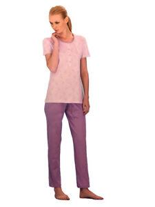 Pigiama-donna-Manica-corta-Pantalone-lungo-Serafino-5-bottoni