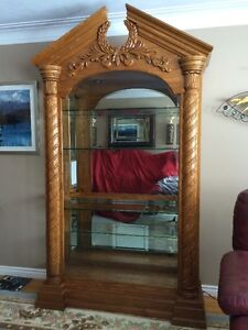 BEAUTIFUL OAK CHINA CABINET  PRICE NOW $800