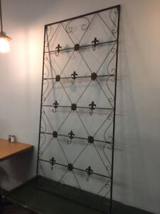 Black metal wall mounted hook display
