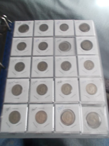 1937 TO 1967 CANADA TWENTY-FIVE CENT SILVER COINS