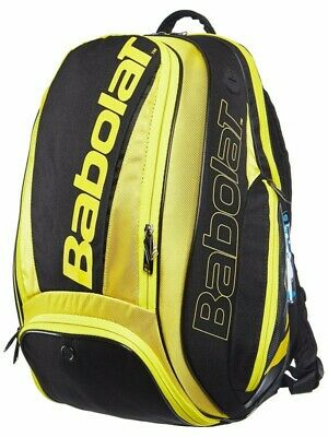 New Babolat Pure Aero Backpack Black/Yellow 2 Racquets
