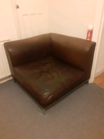 Free One Seater Corner Leather Sofa Brown Colour