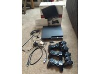 Sony PlayStation PS3 Slim 120Gb Boxed with all cables, 5 controllers, 10 games including COD FIFA
