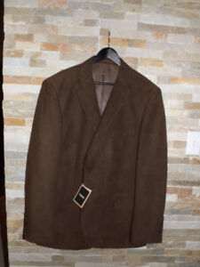 @-@new **Mens Brown Sueded Suit Jacket Blazer Size 46 xl