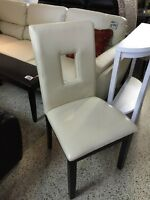 DINING CHAIR IN IVORY BONDED LEATHER for only 65$ each