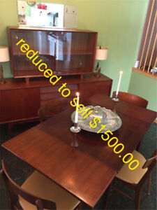 MUST SELL: Denmark Teak Table Chairs Hutch Lamps Mid Mod Century