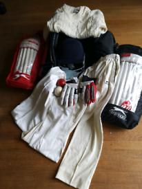 Boys cricket bag, bat and clothing
