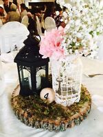 Beautiful wedding wood slab centerpieces for rent