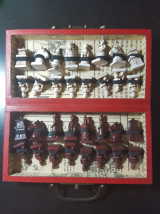 Vintage Wood Oriental Terracotta Warrior Chess set