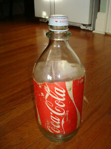 1970's Glass 64 oz Coke Bottle with Foam Label - Price Reduced