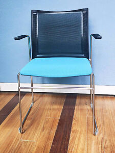 NEW Italian made chair with blue fabric seat black mesh backrest