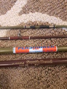 VINTAGE SOUTH BEND FISHING ROD & PLAYMAKER CORK HANDLE ROD