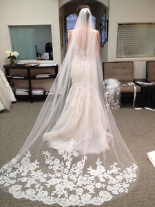 Black, white and ivory Cathedral wedding veils