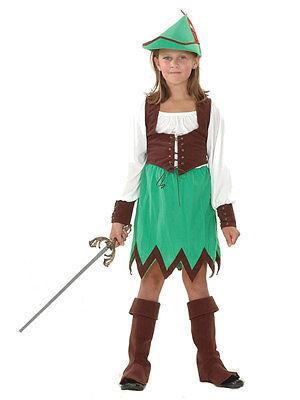 Girls Robin Hood Hunter Deluxe Fancy Dress Costume Book Week Childs Outfit Kids - Robin Hood Costume For Girls