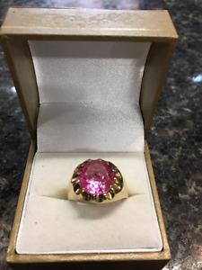 Bague or homme pierre rose grandeur 10 (u017898)