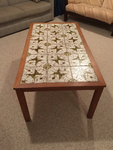 Large Teak and Tile coffee table