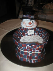 ADORABLE Mr. SNOWMAN CANDY DISH