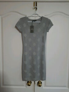 Armani Exchange Silver BodyCon Dress XS (BNWT)