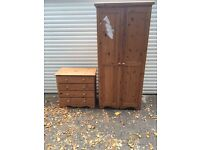 Pine walldrobe and chest of draws