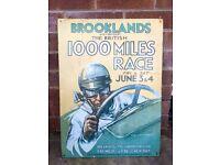 Motor racing memorabilia. Brooklands 1000 mile race vintage sign.