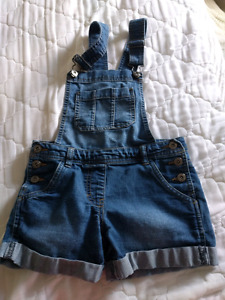 Girls denim short coveralls size 10
