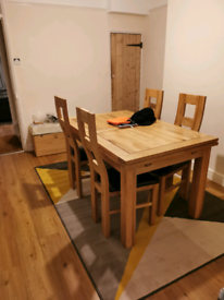 Dorset Solid Oak Dining Table & Four Chair Set