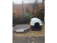 Plastic dog bed and plastic dog kennel bed. Both £30.00