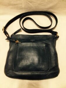 Ladies Small Black Leather Fossil Cross Body Bag