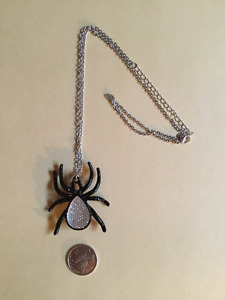 "Black Spider Pendant 24"" Necklace"